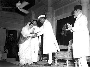 Kesarbai Kerkar - Kesarbai Kerkar receiving Sangeet Natak Akademi Award in March 1953