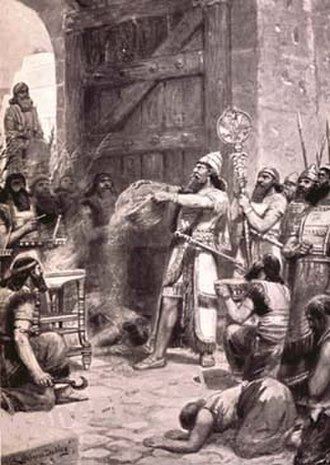 Shalmaneser I - Shalmaneser I pours out the dust of Arina before his God, illustration in Hutchinson's Story of the Nations