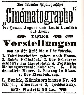 Cinema of Austria - An advertisement for films by the French Brothers Lumière in Vienna from 1896.