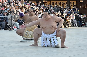 Kisenosato Yutaka - Kisenosato performing his first yokozuna dohyō-iri at the Meiji Shrine in Tokyo