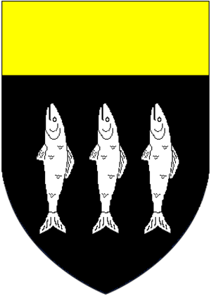 Thomas Kitson - Arms of Kitson: Sable, three fishes hauriant argent a chief or
