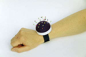 Pincushion - A wrist-held pincushion