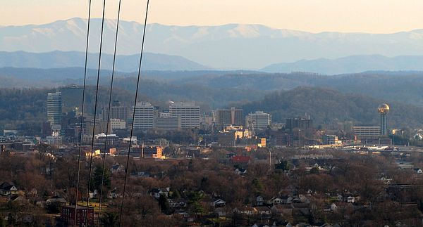 Downtown Knoxville, with the Great Smoky Mountains rising in the distance, viewed from Sharp's Ridge Knoxville-from-sharps-ridge-tn2.jpg
