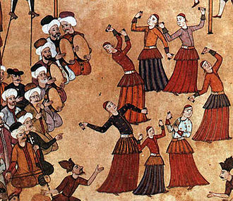 "Köçek - ""Köçek troupe at a fair"" at Sultan Ahmed's 1720 celebration of his son's circumcision. Miniature from the Surname-i Vehbi, Topkapı Palace, Istanbul."