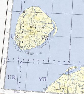 Kolguyev Island - Kolguyev Island. 1963 U.S. Army map section
