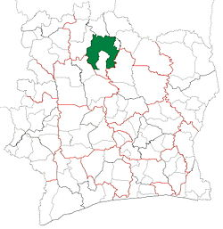 Location in Ivory Coast. Korhogo Department has had these boundaries since 2012.