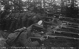 Krag–Jørgensen - Norwegian soldiers training in 1905, armed with the Krag–Jørgensen