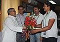 Krishna Poonia, Gold medal winner (Women's Discuss Throw event) in XIX Commonwealth Games-2010 Delhi, calls on the Union Minister for Rural Development and Panchayati Raj, Dr. C.P. Joshi, in New Delhi on October 13, 2010.jpg