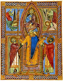 "Coronation of the Holy Roman Emperor (and later Saint) Henry II. Christ is pictured as performing the actual coronation, the highly symbolical sword (""Reichsschwert"") and Holy Lance are handed by the saints Ulrich († 973) and Emmeram († 652) - Henry had actually been crowned Emperor by Pope Benedict VIII in 1014."