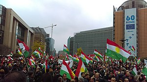Iraqi Kurdistan independence referendum, 2017 - Demonstration in support of the independence of Kurdistan at Schuman in Brussels, Belgium, 25 October 2017