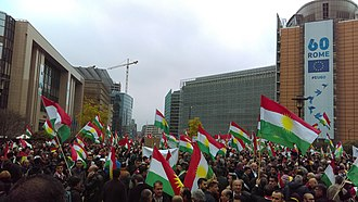 2017 Iraqi Kurdistan independence referendum - Demonstration in support of the independence of Kurdistan at Schuman in Brussels, Belgium, 25 October 2017