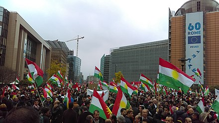 Demonstration in support of the independence of Iraqi Kurdistan at Schuman, Brussels, 25 October 2017 Kurdish demonstration at Schuman, Brussels, 25 October 2017.jpg
