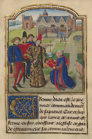 Georges Chastellain - Charles the Bold accepting book from Georges Chastellain, miniature in L'instruction d'un jeune Prince.