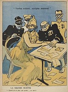 Desenho a cores representando o exército (disfarçado de Atenas), balonado, que soldados mascarados fazem escrever cartas de denúncia.