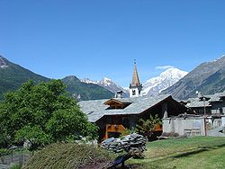 The village of La Salle with the Mont Blanc in the background.