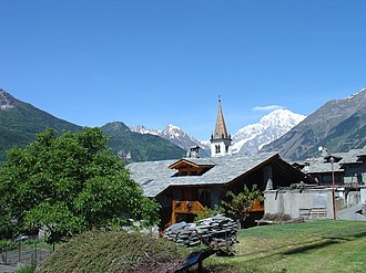 La Salle, Aosta Valley - The village of La Salle with the Mont Blanc in the background.