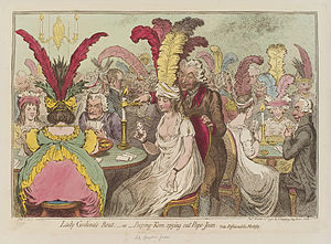 Curse of Scotland - James Gillray caricature of 1796 showing a lady playing Pope Joan and holding the nine of diamonds