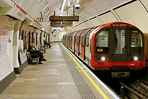London Underground - A deep-level Central line train at Lancaster Gate bound for Ealing Broadway
