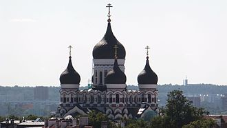 Alexander Nevsky Cathedral, Tallinn - Landscape view of the Cathedral, as seen from the top viewing platform of St. Olaf's Church, Tallinn.