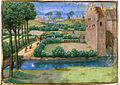Landscape with a watermill - Le Tresor des Histoires (15th C), f.345v - BL Cotton MS Augustus V.jpg