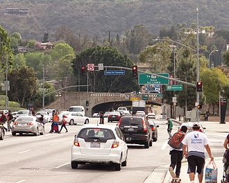 Lankershim Boulevard - Looking south on Lankershim Boulevard as it approaches the Hollywood Freeway and Ventura Boulevard.
