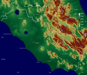 Lazio - Relief map of Lazio.