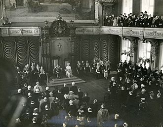 1939 royal tour of Canada - George VI and Elizabeth presiding over the  Legislative Council chamber of the Legislative Assembly Building of Quebec in Quebec City.