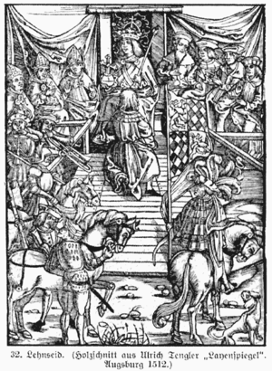 Feudalism in the Holy Roman Empire - Acceptain of the oath of fealty (Lehnseid) in 1512