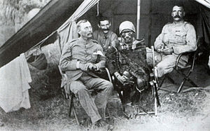 Arthur Henry Hardinge - A photo of Lenana, the Chief Medicine-Man of the Maasai circa 1890. Point Lenana (4,985m), the third highest peak, on Mount Kenya was named after him by Halford Mackinder. Lenana is shown with Sir Arthur Hardinge, although which man in the photo is Hardinge is unknown.
