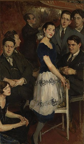 Les Six - Le Groupe des six, 1922, painting by Jacques-Émile Blanche. In this painting of eight people, only five of Les Six are represented; Louis Durey was not present. In the center: pianist Marcelle Meyer. On the left, from bottom to top: Germaine Tailleferre, Darius Milhaud, Arthur Honegger, Jean Wiener. On the right, standing Francis Poulenc, Jean Cocteau; and seated Georges Auric.
