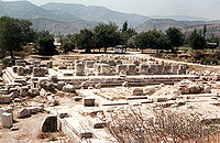 The foundations of the three temples at the Letoon