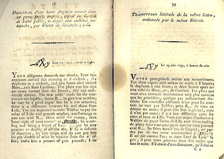 Lettre anglaise (English Letter) dated 29 June 1793 as published by the National Convention during the French Revolution (1793) to prove English spying and conspiracy Lettre anglaise.jpg