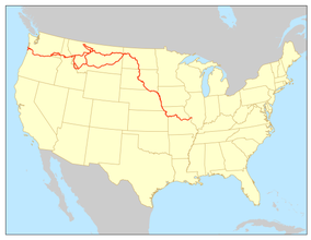 Map showing the location of Lewis and Clark National Historic Trail