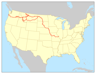 Lewis and Clark National Historic Trail route across the United States commemorating the Lewis and Clark Expedition