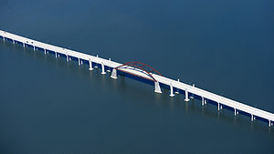 English: Lewisville Lake Toll Bridge over Lewi...