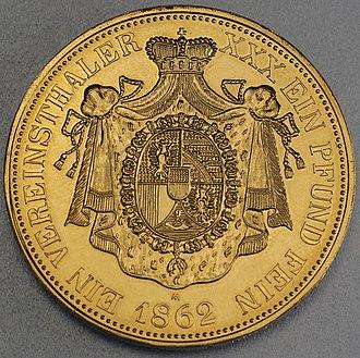 Liechtenstein franc - Liechtenstein vereinsthaler, 1862