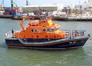 Lifeboat (rescue) - Severn class lifeboat in Poole Harbour, Dorset, England. This is the largest class of UK lifeboat, at 17 metres long