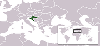 A map showing the location of Croatia