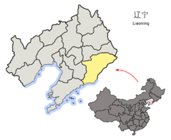 Location of Dandong City jurisdiction in Liaoning