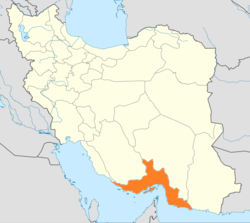 Map of Iran with Hormozgān highlighted
