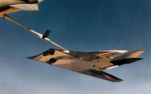 4450th Tactical Group - Full Scale Development Aircraft Five (FSD-5), Lockheed F-117A Nighthawk 79-7084. being refueled by a KC-135 Stratotanker, July 1983