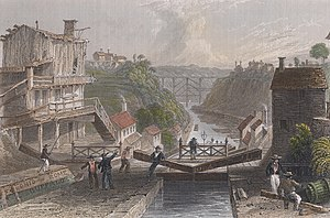 Lockport (city), New York - Lockport 1839, by William Henry Bartlett