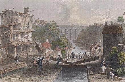 Scene of Lockport on the Erie Canal (W. H. Bartlett 1839) Lockport bartlett color.jpg
