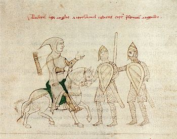 Capture of Richard the Lionheart, detail from the Liber ad honorem Augusti by Petrus de Ebulo, around 1196