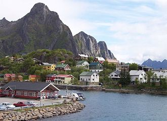 Lofoten - Svolvær in Lofoten, Norway. View from the ferry harbour.