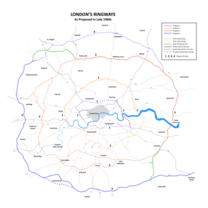 London Ringways - Plan of Ringways 1, 2, 3 and 4