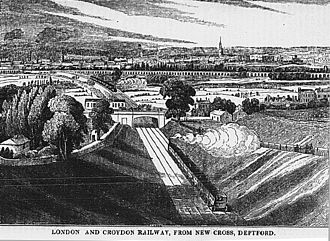 London Bridge – Greenwich Railway Viaduct - A panoramic view from New Cross station showing the viaduct and Corbett's Lane Junction in the background, c.1840.