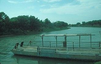 Los Ebanos Ferry - The hand-operated ferry at Los Ebanos, Texas.