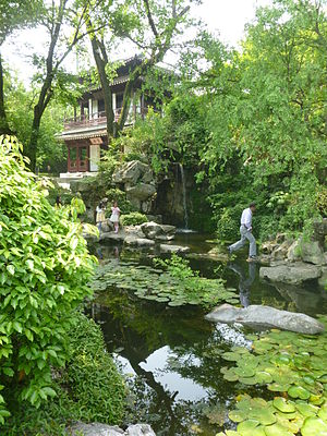 Huzhou - A man-made waterfall in Lotus Garden, Huzhou, Zhejiang province, China