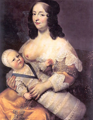 The future King Louis XIV as an infant with hi...